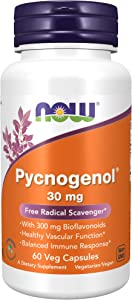 NOW Supplements, Pycnogenol 30 mg (a Unique Combination of Proanthocyanidins from French Maritime Pine) with 300 mg Bioflavonoids, 60 Veg Capsules