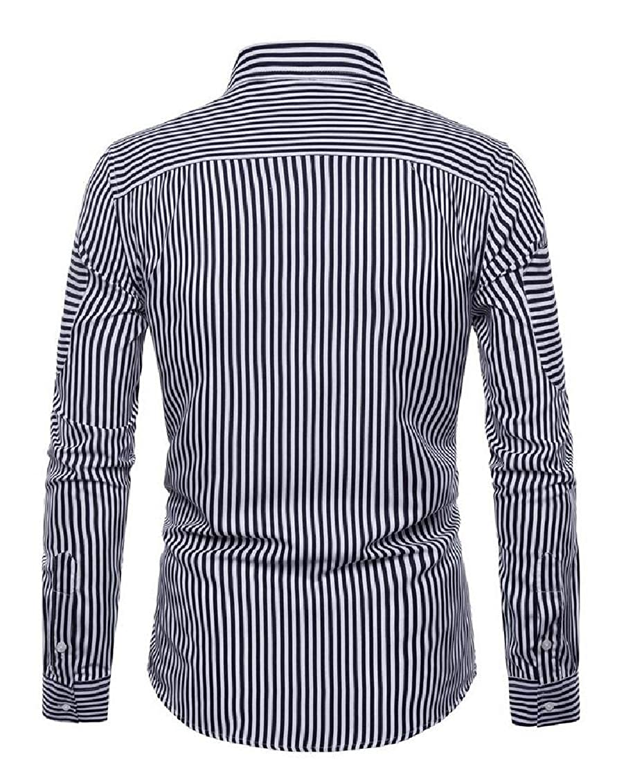 Cromoncent Mens Curved Hem Striped Lapel Neck Loose Long Sleeve Button Down Shirts