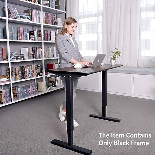 Smile Back Height Adjustable Standing Desk Frame, Stand up Desk Frame, Sit Stand Desk Frame, Manual Crank Desk Frame, Ergonomic Workstation, Conversion Kit, Black Desk Legs, No Table top