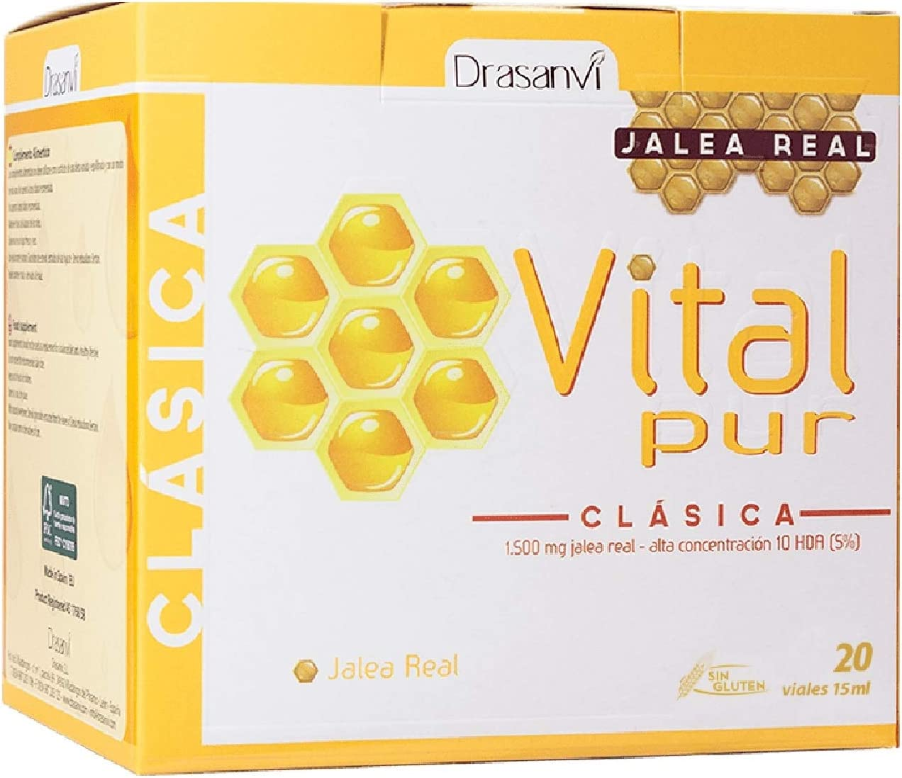 DRASANVI Vitalpur Classic 20 vials - Health Care - Vitamins - Food Supplement - Royal Jelly - Skin Hydration - Strengthens The Digestive System and intestinal Flora - Increases Vitality - Natural