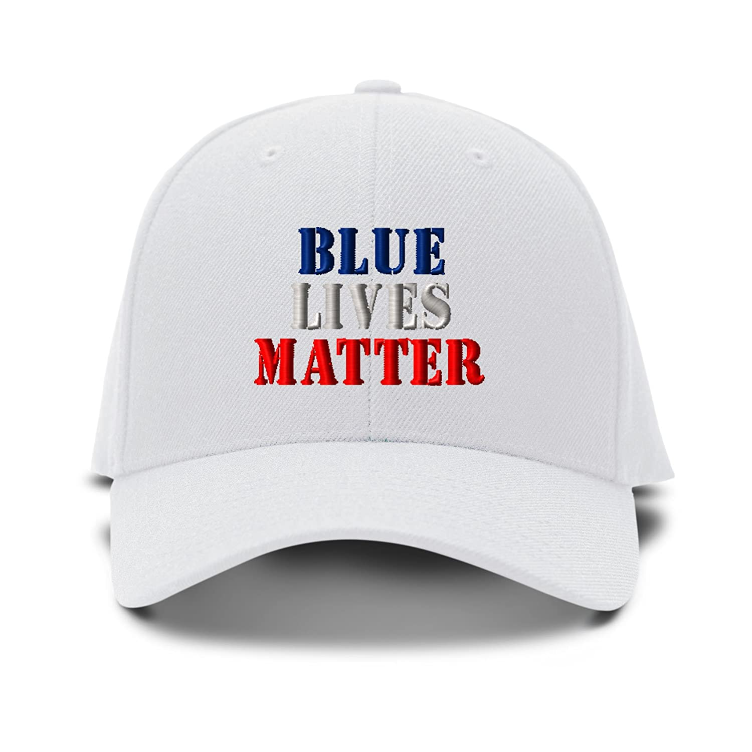 Amazon.com  Blue Lives Matter Police Embroidery Adjustable Structured Baseball  Hat White  Clothing 4d4e07e29ca3