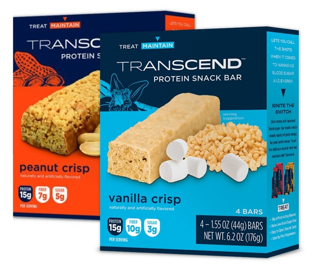 Transcend Energy Management Protein Snack Bar Variety Pack - Low Carb Low Sugar with Vanilla Crisp & Peanut Crisp - 8 Bars Total by FirstAidGlobal.com