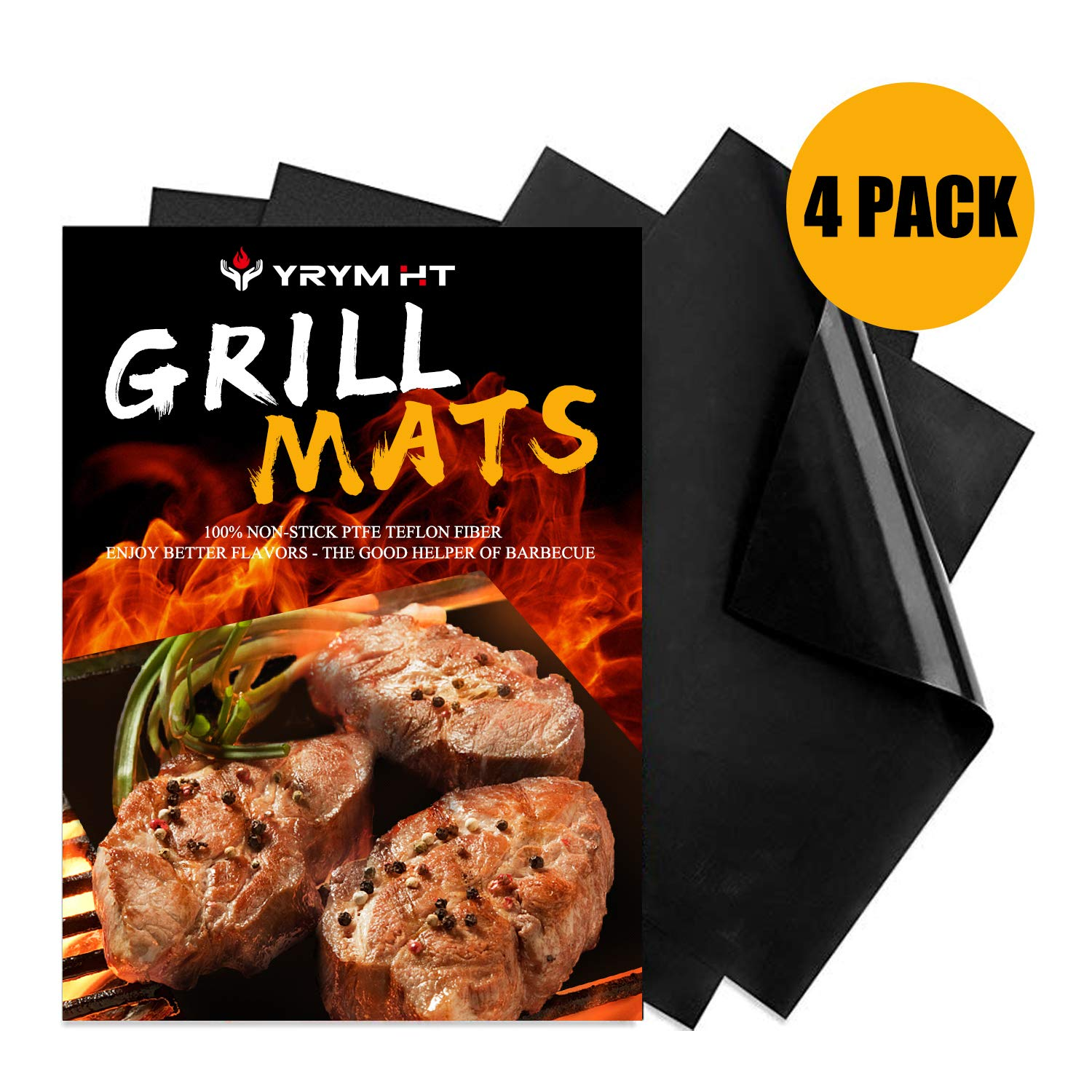 Best Grill Mat - Set of 4 Thick BBQ Grill Mats Non Stick Barbecue Grill Mats, Reusable and Easy to Clean by YRYM HT