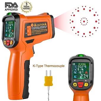 Termómetro Infrarrojo Termómetro Digital de láser Termómetro de Cocina sin Contacto Temperatura Pistola de Color -