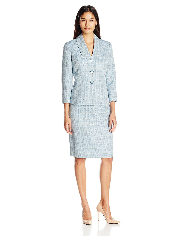 Le Suit Women's Crossdye 3 Button Skirt Suit, Bali Multi, 18