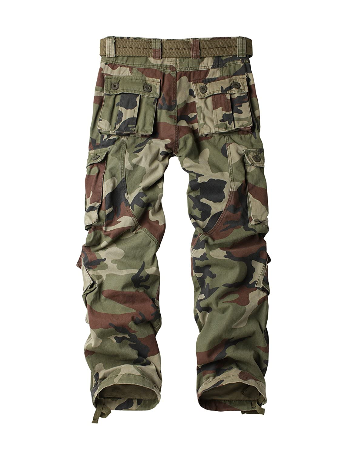 MUST WAY Womens Casual Loose Fit Camouflage Multi Pockets Cargo Trousers