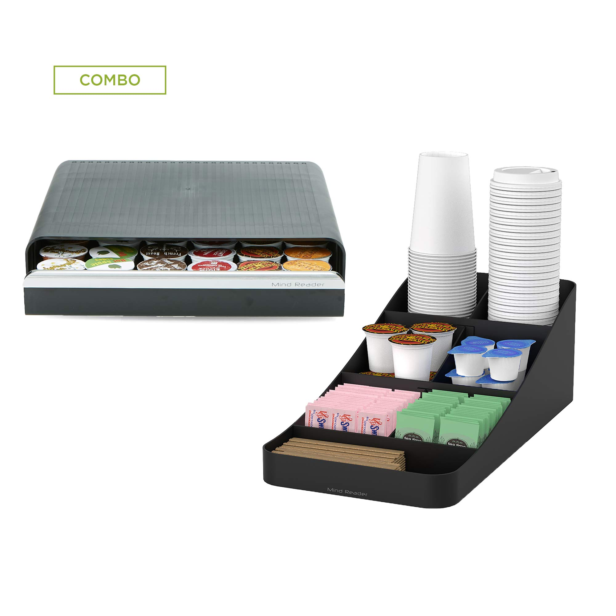 Mind Reader COMP726-BLK 36 Capacity K-Cup Coffee Pod Storage Drawer with 7 Compartments for Cups, Lids, Sugars, Stirrers, Black