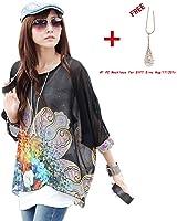 Doinshop Lady Black Batwing Sleeve Chiffon Shirt Bohemian Tops Oversized Blouse