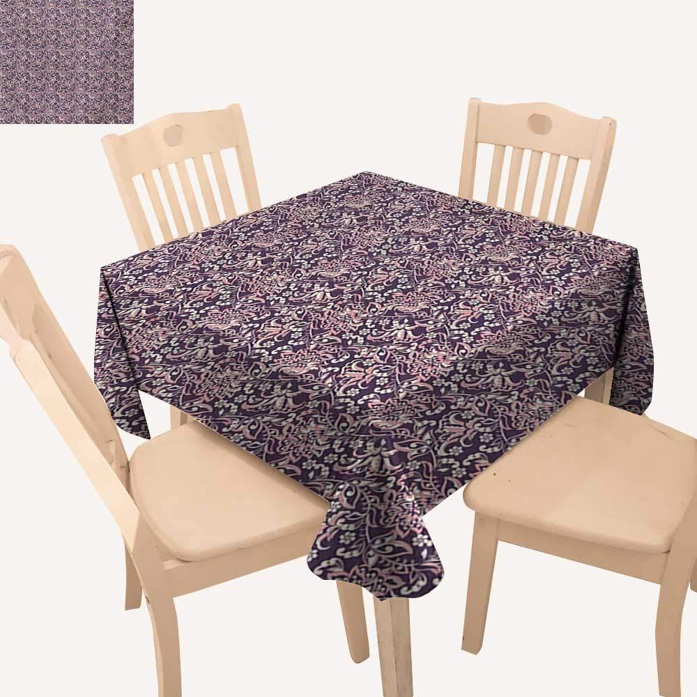 Angoueleven ビンテージ クリスマス テーブルクロス 抽象的な花柄モチーフ ロンバスグリッドペイズリーとサークルパターン ダイニングテーブルカバー ペールグレー チャコールグレー W 70