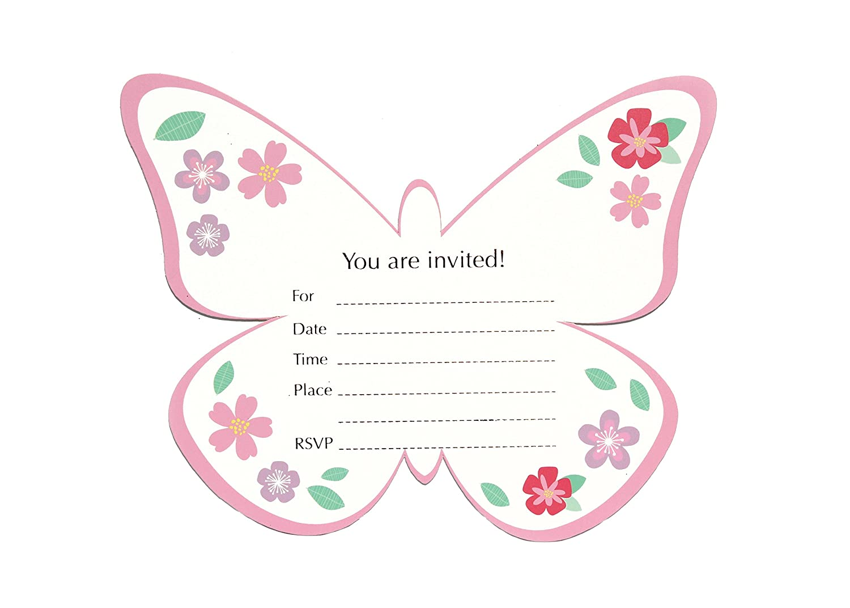 Amazon 8 Butterfly Garden Invitation Cards