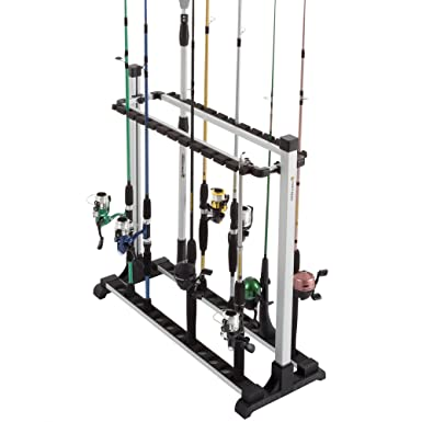 Wakeman Outdoors Fishing Rod Rack- Aluminum Freestanding Floor Storage, Organizer Stand for Home or Garage, Fits 24 Freshwater or Saltwater Rods