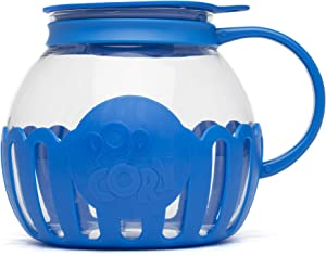 Ecolution Original Microwave Micro-Pop Popcorn Popper, Borosilicate Glass, 3-in-1 Silicone Lid, Dishwasher Safe, BPA Free, 3 Quart Family Size, Blue