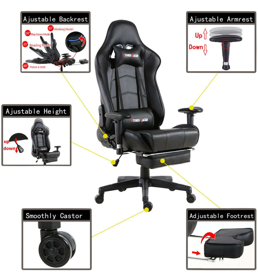 fully adjustable office chair. Amazon.com: Gaming Chair Ergonomic Racing Style PU Leather Office With Footrest (Black,01): Home \u0026 Kitchen Fully Adjustable