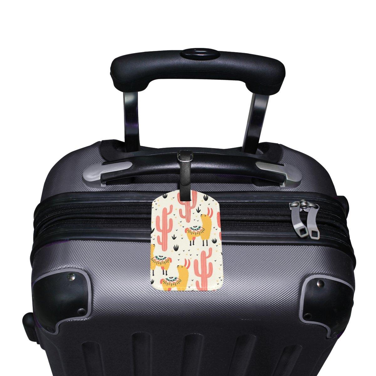Saobao Travel Luggage Tag Yellow Llamas Red Cacti PU Leather Baggage Travel ID