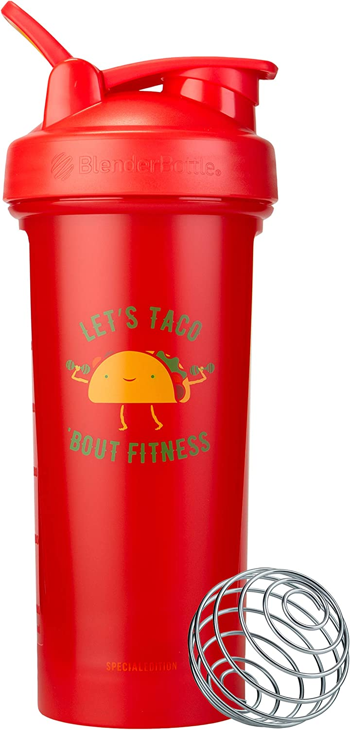 BlenderBottle Just For Fun Classic V2 Shaker Bottle, 28-Ounce, Let's Taco 'Bout Fitness