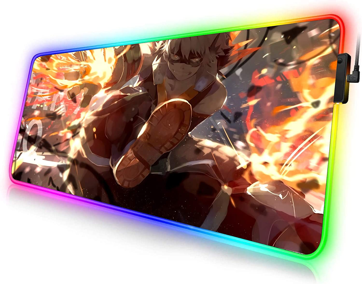 Hero x Villain LED 16 x 35 inches Totem World Trading Card Games Mouse Pad Compatible with Gaming Pokemon Yugioh Magic The Gathering MTG TCG Card Game Table Playmat