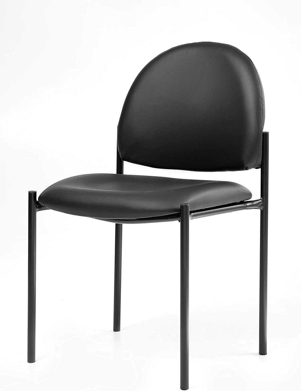 Office Factor Stackable Guest Chair, Vinyl Upholstered Waiting Room Chair for Business, Doctor's Office, Lobbies, Extra Seating (Black-Vinyl NO ARMS)