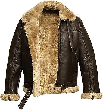 B3 Dunkin Aviator Bomber Fur Shearling RAF Flight Pilot Leather Jacket For Mens