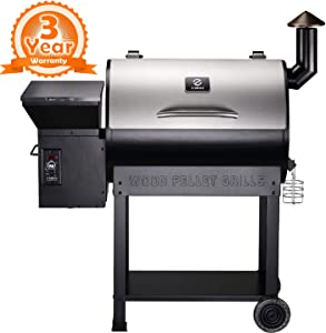 Z GRILLS ZPG-7002ENC 2021 Upgrade Wood Pellet Grill & Smoker, 8 in 1 BBQ Grill Auto Temperature Control, inch Cooking Area, 700 sq in Stainless NO Cover