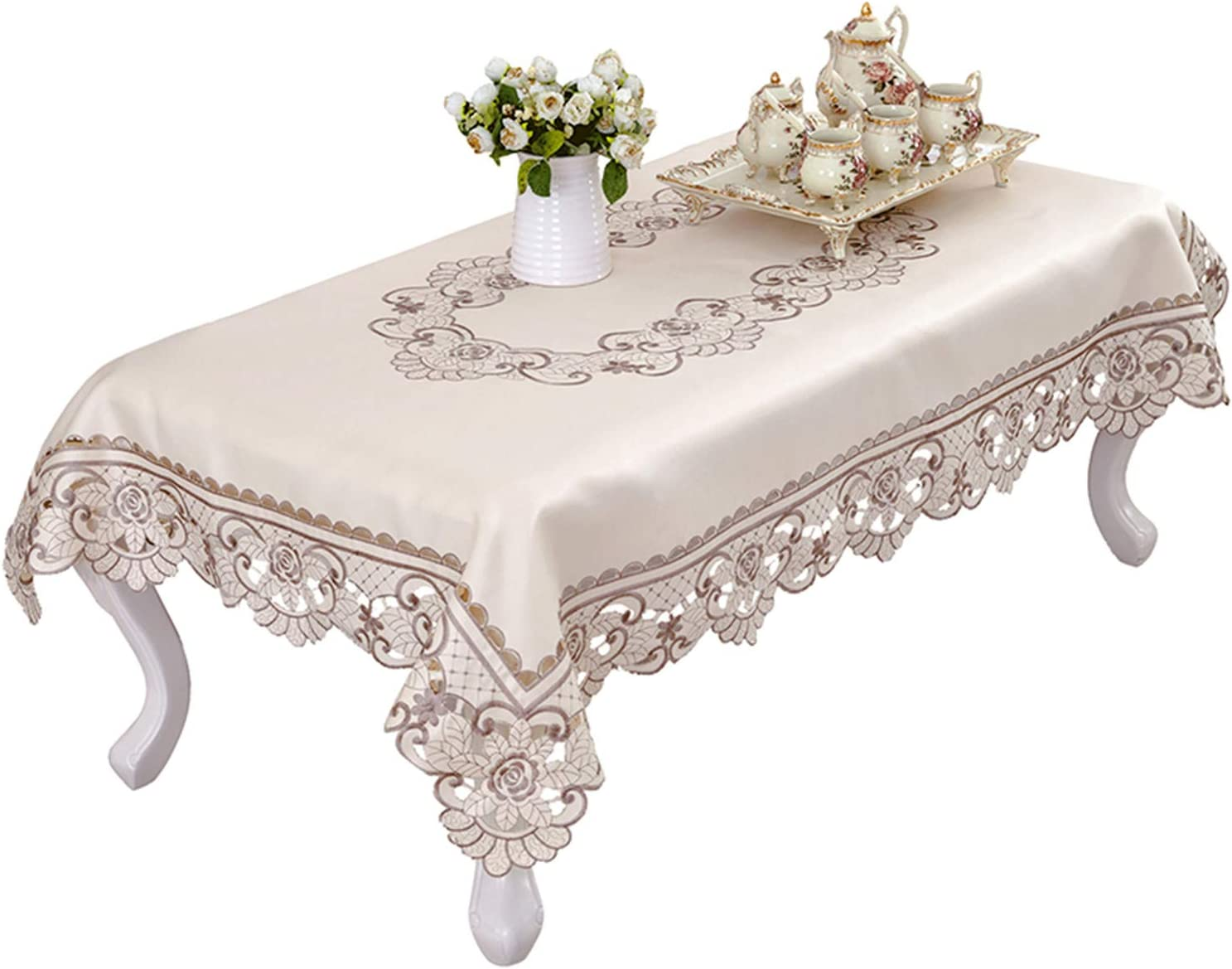 Amazon Com Brown Flower Embroidered Lace Small Coffee Table