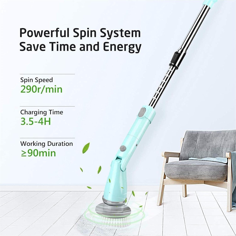 1 asa extendida para limpieza de ba/ñera suelo azulejos Homitt Cepillo giratorio el/éctrico para limpieza Spin Scrubber recargable con 3 cepillos de limpieza el/éctricos