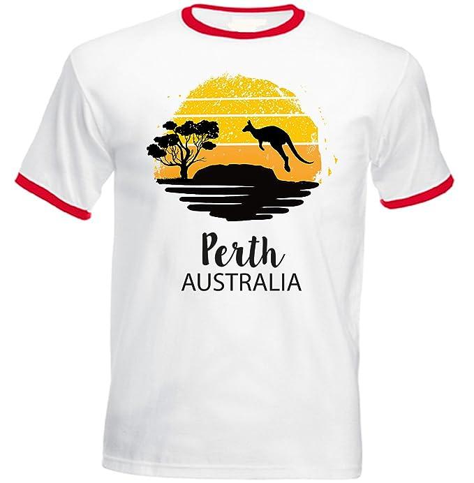 teesquare1st PERTH AUSTRALIA Tshirt de hombre con bordes rojos: Amazon.es: Ropa y accesorios