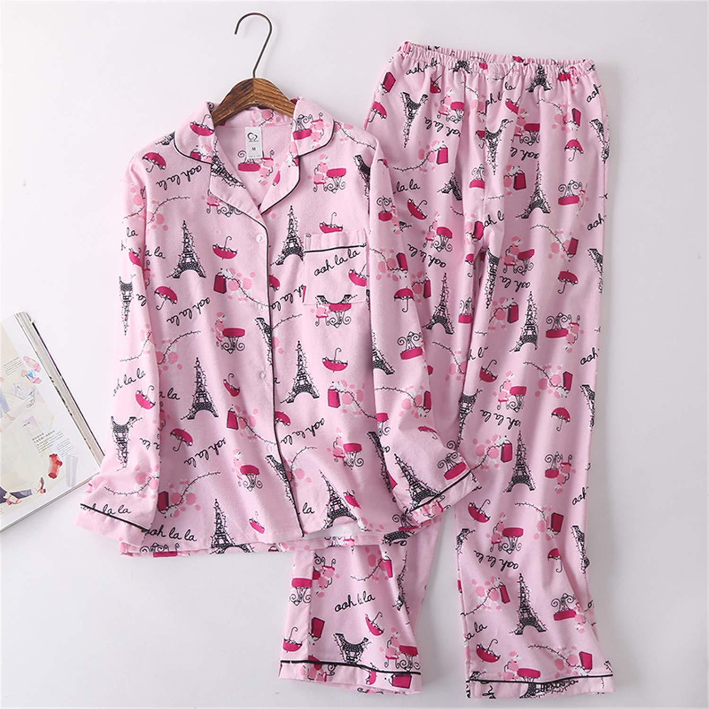 abd33f9e69a4 Retro Brushed Cotton Women Pajama Sets Autumn Casual Sleepwear ...