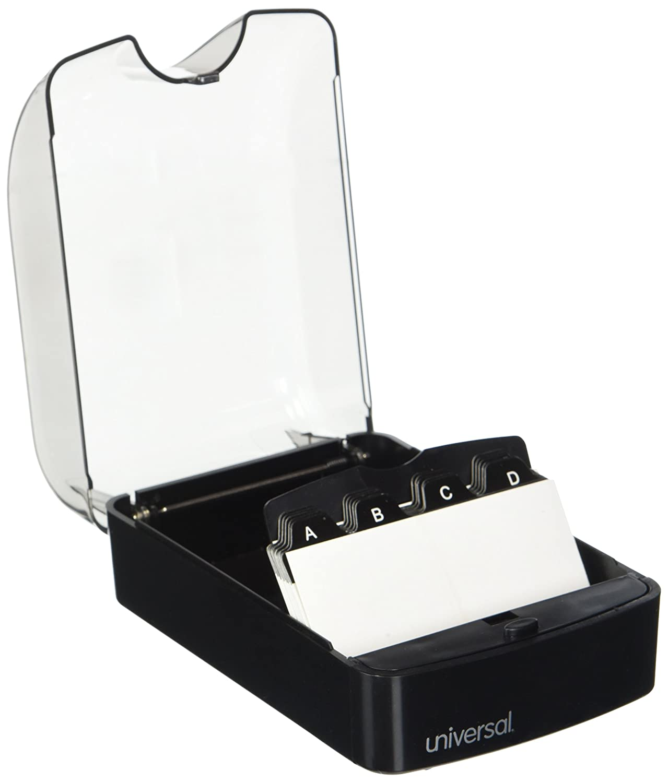 4x5 3//4x2 3//4 Plastic Black//Smoke Push-Button Business Card File