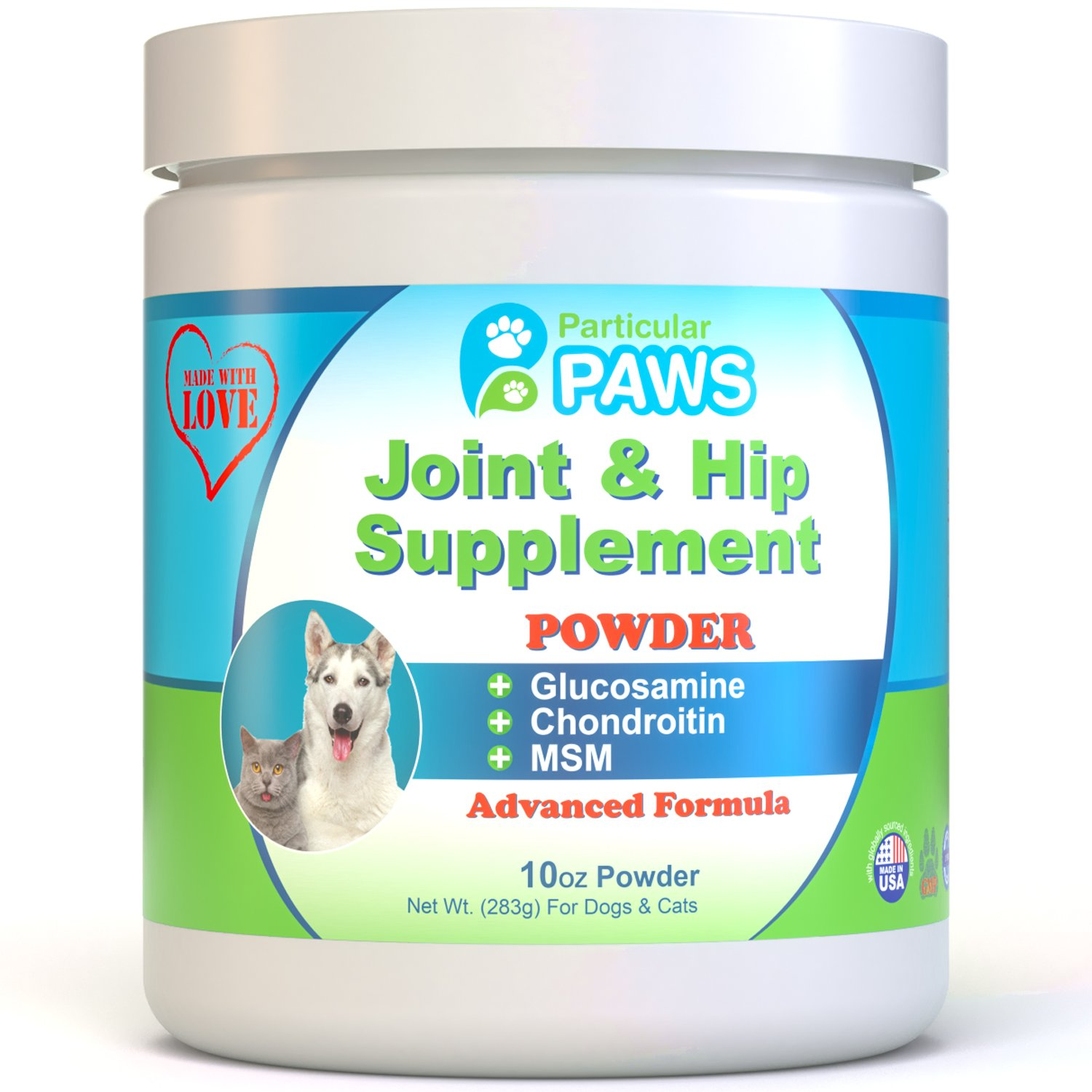 Glucosamine for Dogs and Cats - Powder - Joint & Hip Supplement with MSM, Chondroitin, Hyaluronic Acid and Vitamin C & E - 10 Ounce Powder