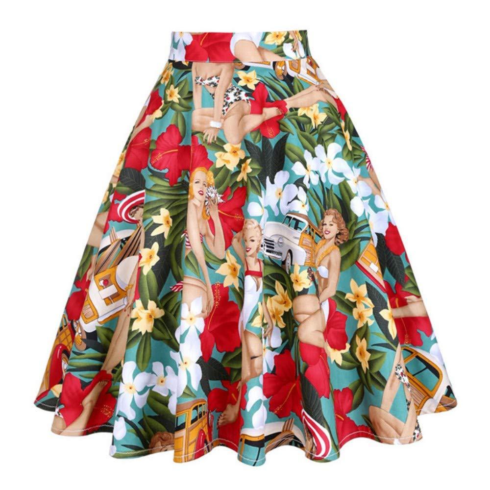 HEHEAB Falda,Las Niñas Print Floral Amarillo Verano Faldas Midi ...