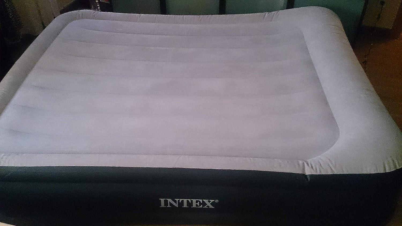 Colchón hinchable de Intex, con inflador incluido, 152 x 203 x 46 cm (230 V, 0,38 mm de grosor, base de vinilo, resistente al agua, incluye bolsa, ...