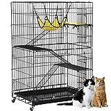 Yaheetech 4-Tier Rolling Cat Pet Metal Wire Large