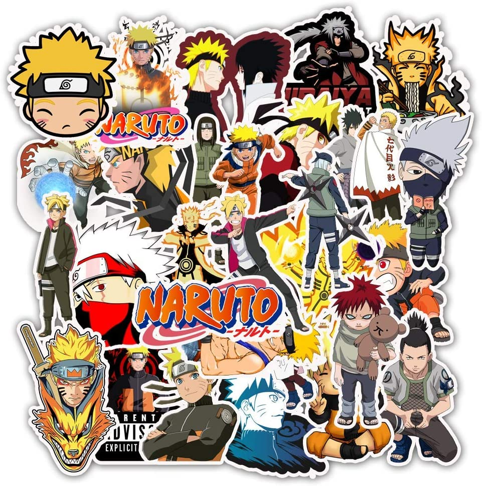 Ratgoo 50 Pcs Waterproof Vinyl Stickers of Cartoon Comic Anime Naruto to Baby Toddler Infant Kids Teens Boys Adult for Laptop Water Bottle Computer Mac Pad Phone Case Hydro Flask Car Bumper Bicycle