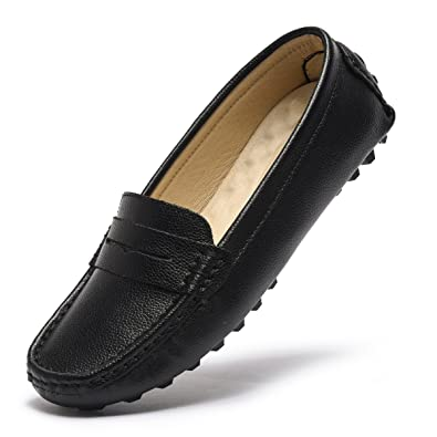 Artisure Womens Girls Classic Handsewn Black Genuine Leather Penny Loafers Driving Moccasins Casual Boat Shoes