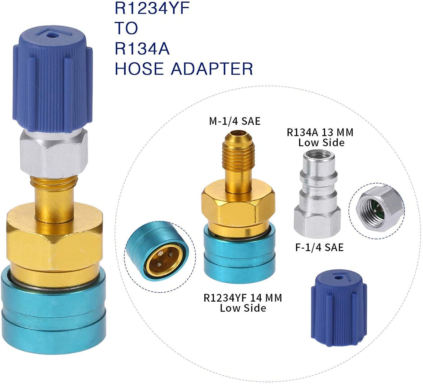Car R1234YF to R134A Low Side Quick Coupler Adapter Car Air-conditioning Fitting Suuonee Air Conditioner Quick Adapter