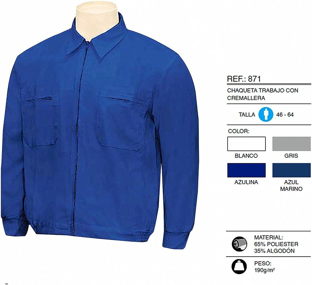 MISEMIYA - Chaqueta Trabajo con Cremallera Uniforme Laboral Industrial Taller MECÁNICO TÉCNICO Fontanero ALBAÑIL Ref.871-46, Azul: Amazon.es: Ropa y accesorios