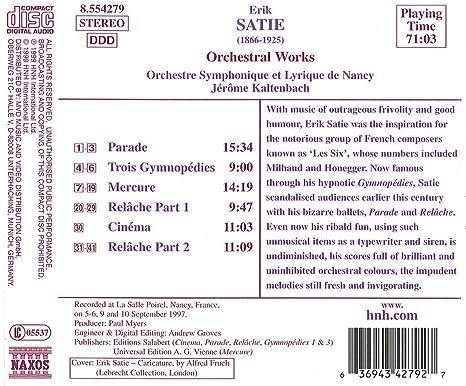 Cinema Entr/'Acte Symphonique De Relache Pour Piano Piano Erik Satie Score Only