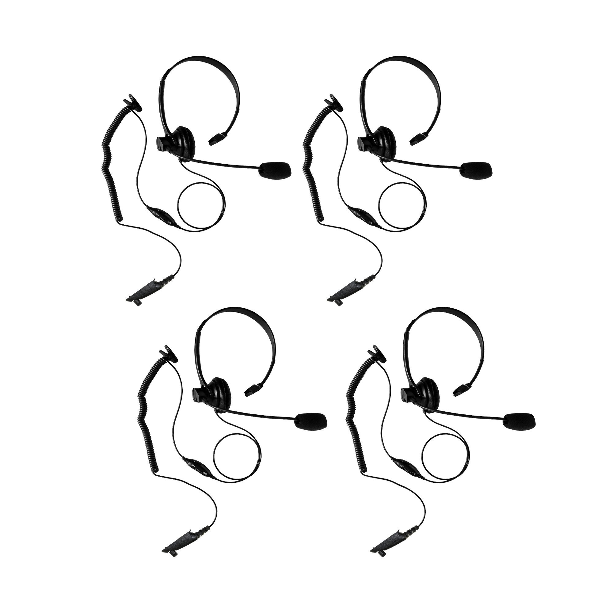 4Pack Maxtop AHDH1000-M5 Two Way Radio Over Head Headset Boom Mic for Motorola HT750 HT1250 GP328 GP329 PRO7150