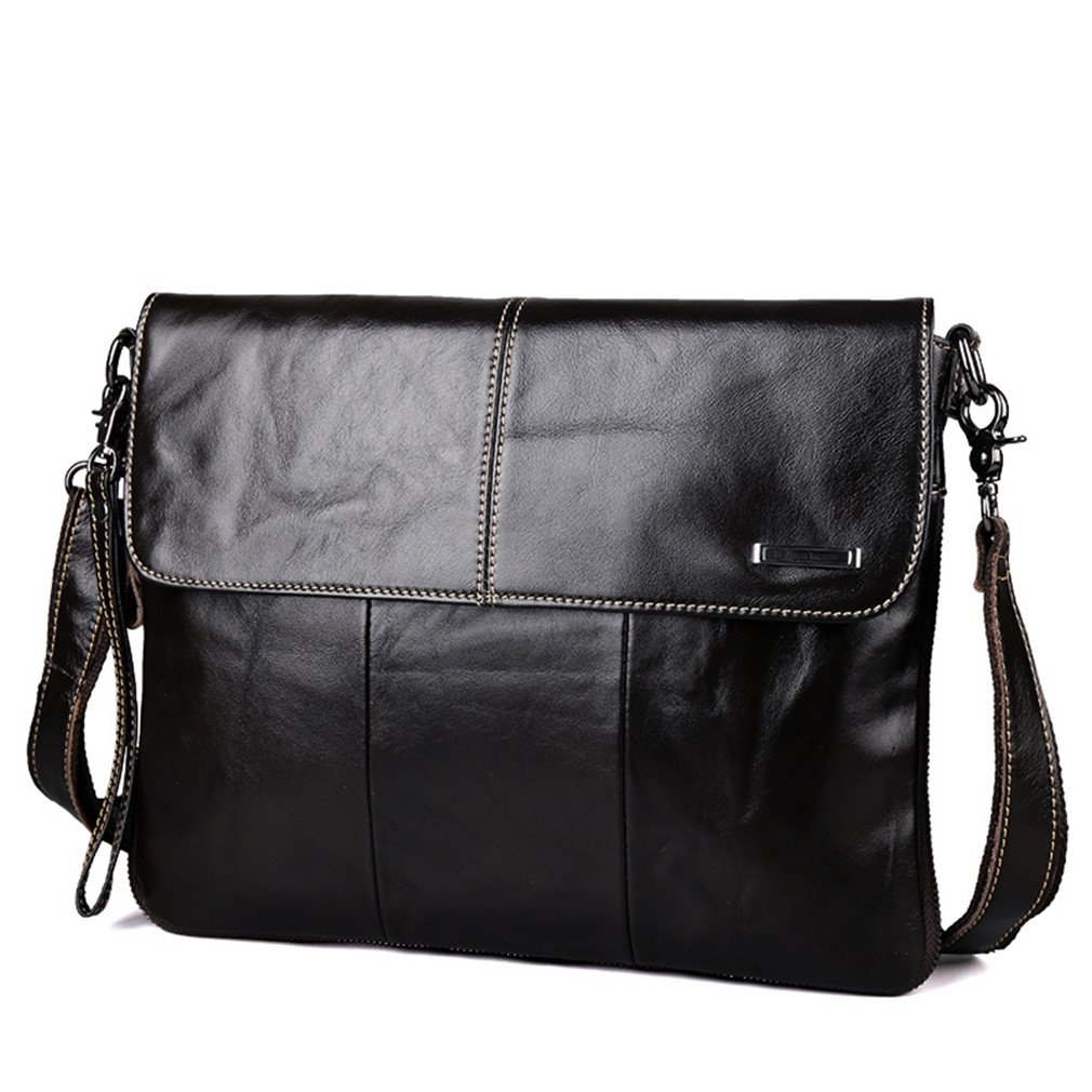 Amazon.com: Leather Men Bags Messenger Mens Crossbody Bags Leather Travel Bags Shoulder Handbags Black: Sports & Outdoors