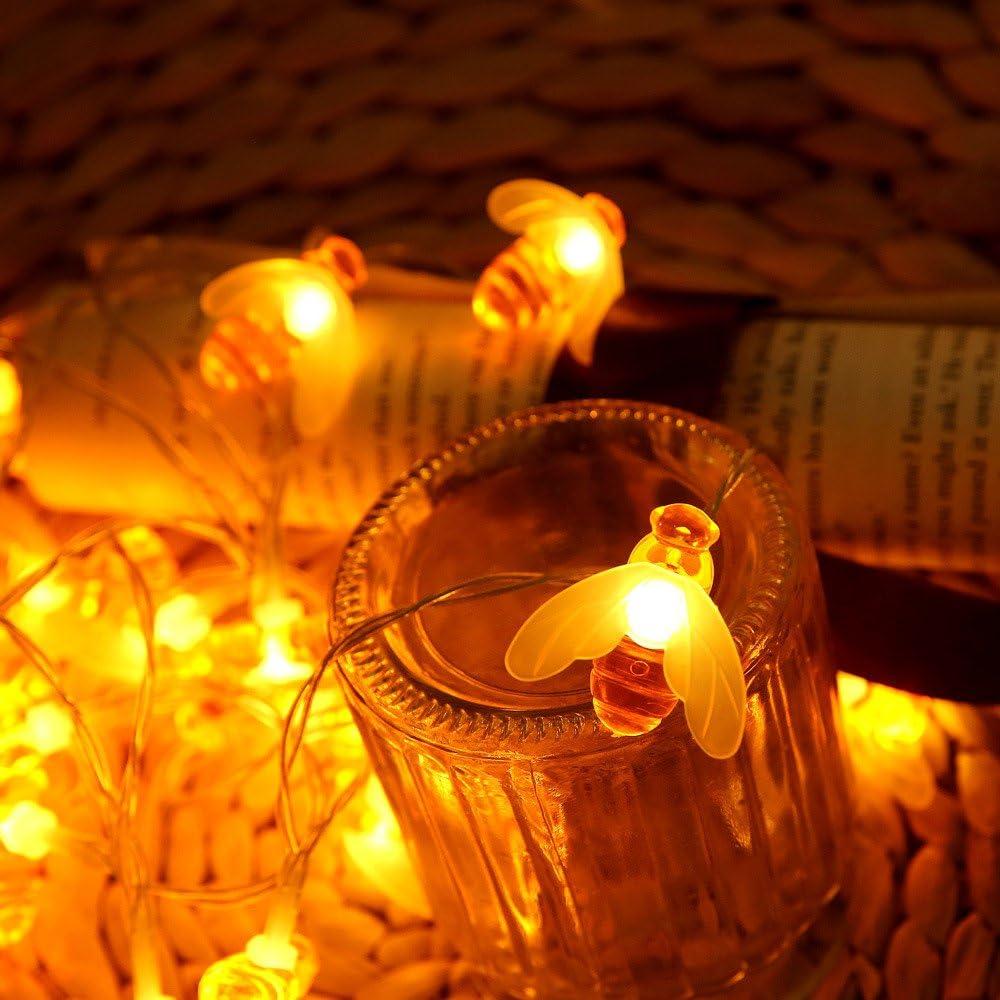 Momola Guirlande lumineuse solaire 10 LED Honeybee Garden Guirlande lumineuse 1.16m Ext/érieur//Int/érieur Solaire /Éclairage D/écoratif pour Maison Patio D/écoration de f/ête