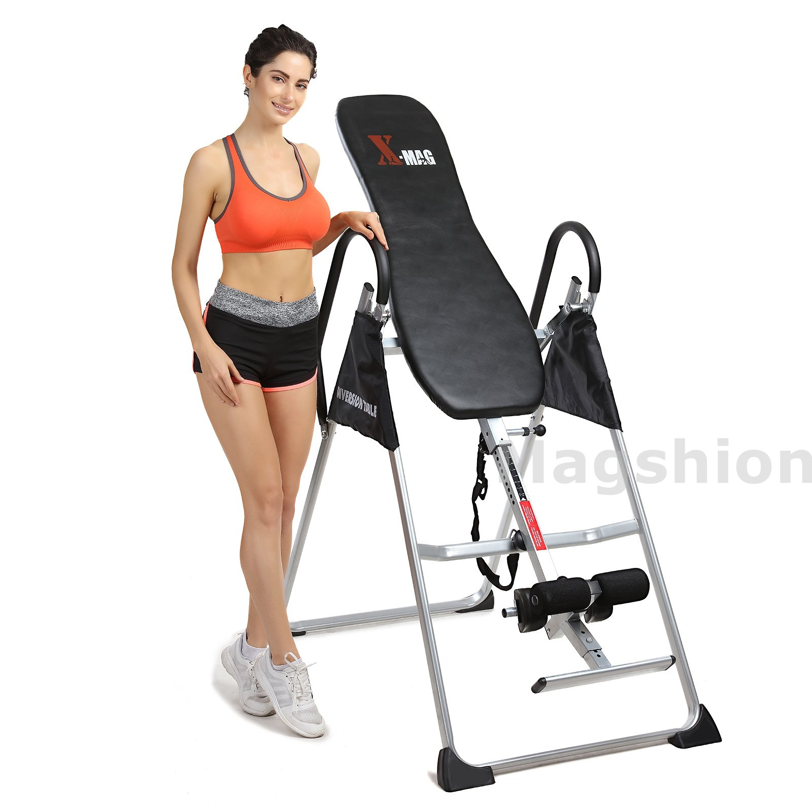 X-MAG Gravity Inversion Therapy Table Deluxe Adjustable Table With Comfort Foam Black
