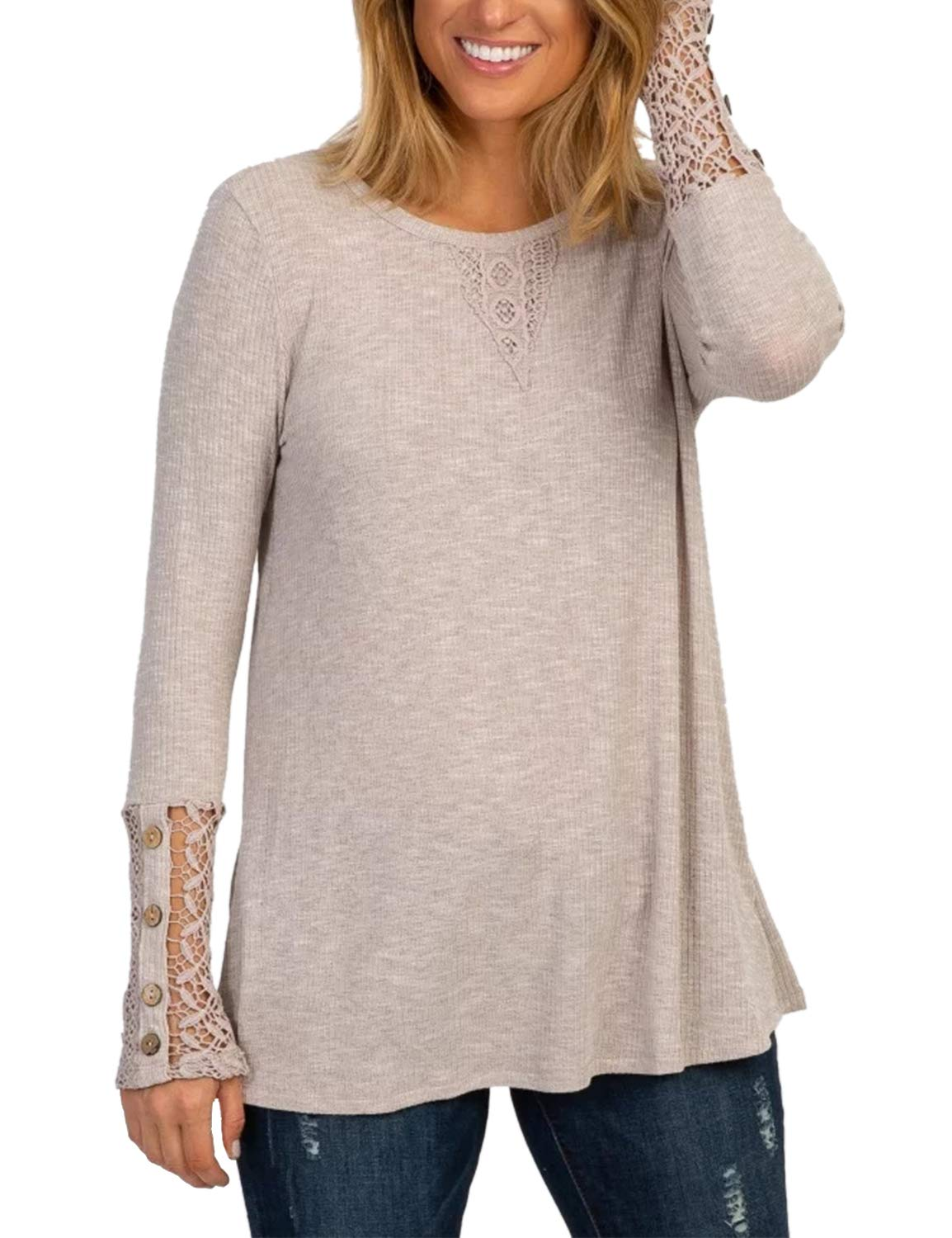 BMJL Women's Round Neck Long Sleeve T Shirt Soft Blouse Buttoned Lace Tops