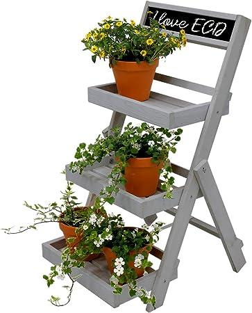 ECD Germany Escalera de Flores con Pizarra Madera Gris Aprox. 71,5 x 36,5 x 5,5cm Soporte de Plantas 3 Areas de Almacenamiento Resistente a la Intemperie Estantería Plegable Interior y exterio: Amazon.es: Hogar