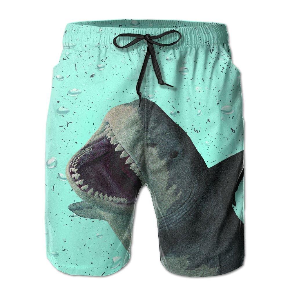 Mens Quick Dry Swim Trunks Shorts Beachwear-Shark Fierce Blue