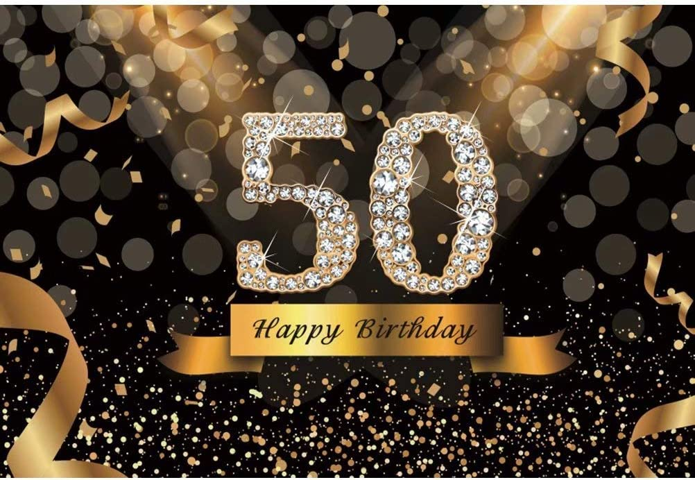 DaShan 12x8ft Black and Gold Happy 50th Birthday Backdrop Glitter Shiny Diamonds Photography Background Birthday Party Confetti Bokeh Halo Adult Women Lady Cake Table Banner Photo Props