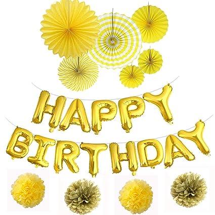 Happy Birthday Balloons Banner 3D Gold Lettering Aluminum Foil Letter Banners Tissue Flowers