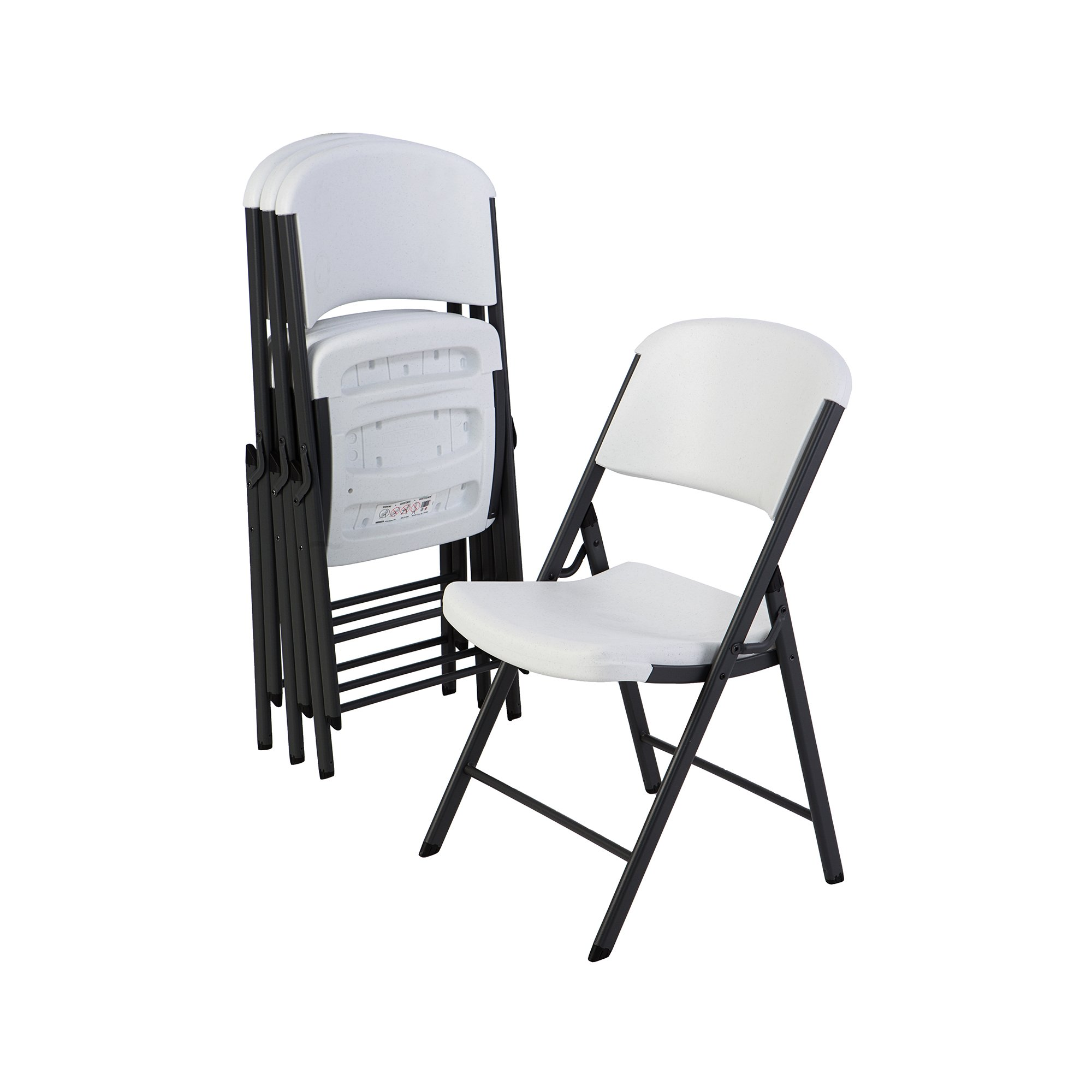 Lifetime 42804 Classic Commercial Grade Folding Chair, White Granite, 4 Pack by Lifetime