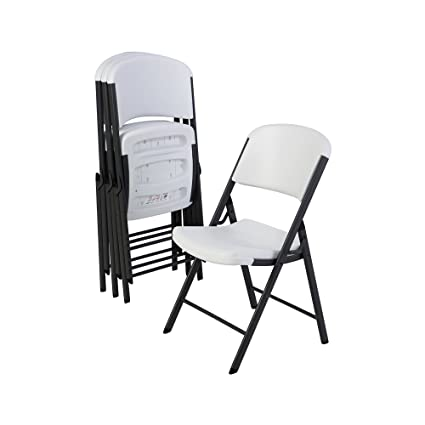 Lifetime 42804 Folding Chair with Molded Seat and Back White Granite Set of 4  sc 1 st  Amazon.com : set of 4 folding chairs - Cheerinfomania.Com