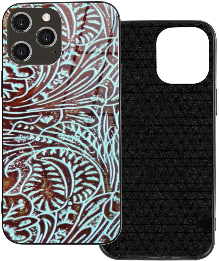 iPhone 12 Case Country Teal Brown Western Rustic Tooled Cowboy Tempered Glass Case Designed for Iphone12 Pro-6.1 2020 TPU Shockproof Glossy Cell Phone Cover