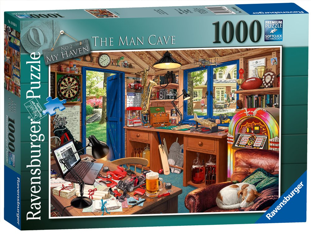 Ravensburger The Man Cave 1000 Piece Jigsaw Puzzle for Adults – Every Piece is Unique, Softclick Technology Means Pieces Fit Together Perfectly